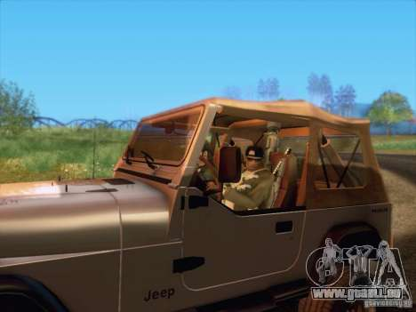 Jeep Wrangler 1994 pour GTA San Andreas sur la vue arrière gauche
