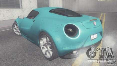 Alfa Romeo 4C V1.0 2013 pour GTA San Andreas laissé vue