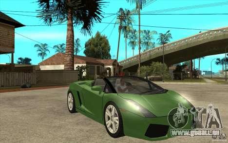 Lamborghini Gallardo Spyder pour GTA San Andreas vue arrière