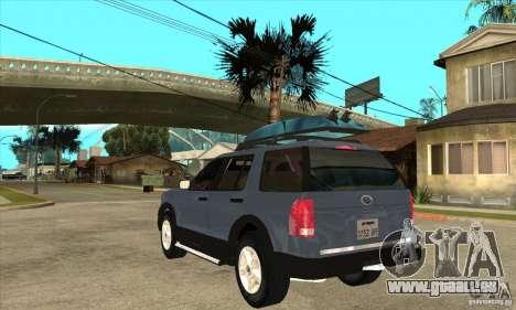 Ford Explorer 2004 pour GTA San Andreas sur la vue arrière gauche