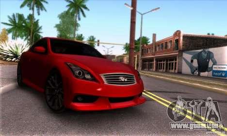 Infiniti IPL G Coupe 2012 für GTA San Andreas Rückansicht