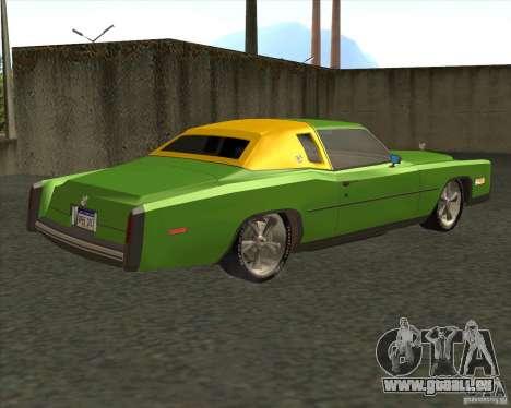 Cadillac Eldorado pour GTA San Andreas vue de dessous