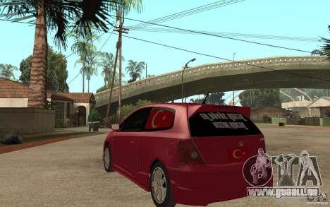 Honda Civic Type R pour GTA San Andreas sur la vue arrière gauche