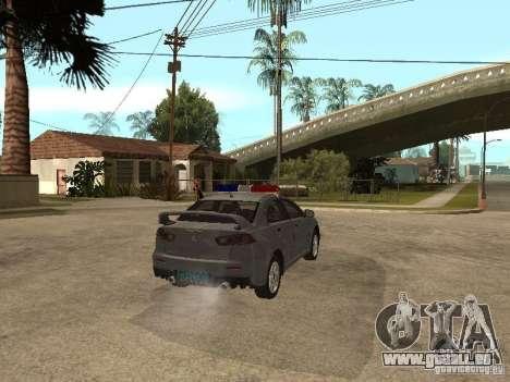 Mitsubishi Lancer EVO X pour GTA San Andreas sur la vue arrière gauche
