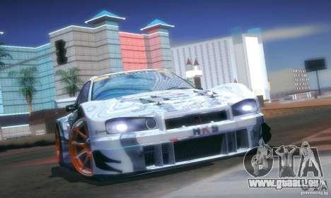 Nissan Skyline Touring R34 Blitz für GTA San Andreas Innenansicht