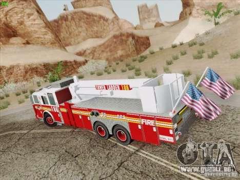 Seagrave Marauder. F.D.N.Y. Tower Ladder 186 pour GTA San Andreas sur la vue arrière gauche