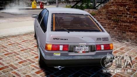 Toyota Sprinter Trueno 1986 für GTA 4 hinten links Ansicht