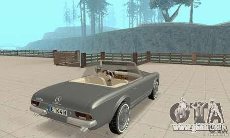 Mercedes-Benz 280SL (Matt) pour GTA San Andreas laissé vue