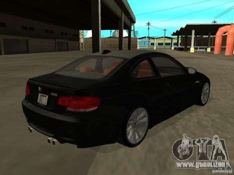 BMW M3 E92 Tunable pour GTA San Andreas laissé vue