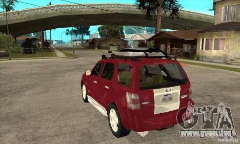 Ford Escape 2009 pour GTA San Andreas sur la vue arrière gauche