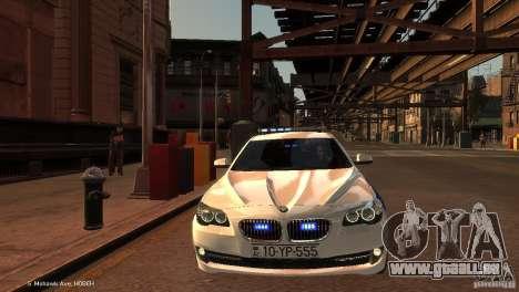 BMW 550i Azeri Police YPX pour GTA 4 est une vue de l'intérieur