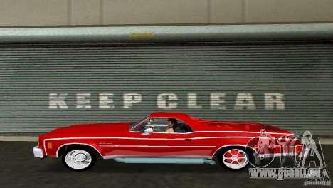 Chevrolet El Camino Idaho pour une vue GTA Vice City de la droite
