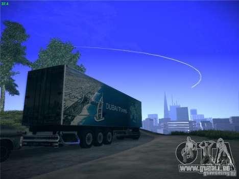 Remorque pour Scania R620 Dubaï Trans pour GTA San Andreas vue arrière