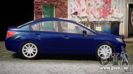 Subaru Impreza Sedan 2012 pour GTA 4 est une vue de l'intérieur