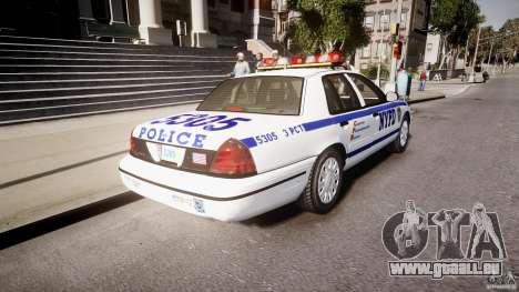 Ford Crown Victoria Police Department 2008 NYPD für GTA 4 hinten links Ansicht