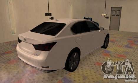 Lexus GS350 F Sport Series IV 2013 pour GTA San Andreas sur la vue arrière gauche