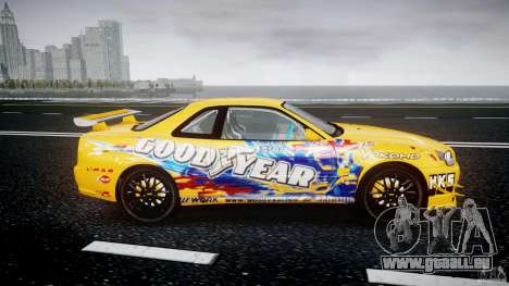 Nissan Skyline R34 GT-R Tezuka Goodyear D1 Drift für GTA 4 Innenansicht