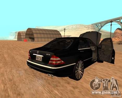 Mercedes-Benz S65 AMG W220 pour GTA San Andreas laissé vue