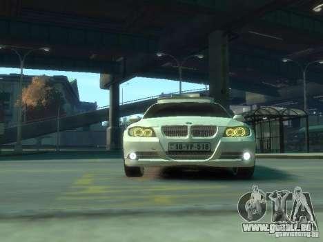 BMW 320i Police pour GTA 4 est une vue de l'intérieur