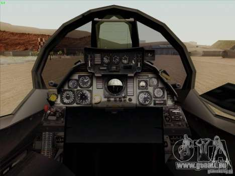 F-14 Tomcat Warwolf für GTA San Andreas Innenansicht