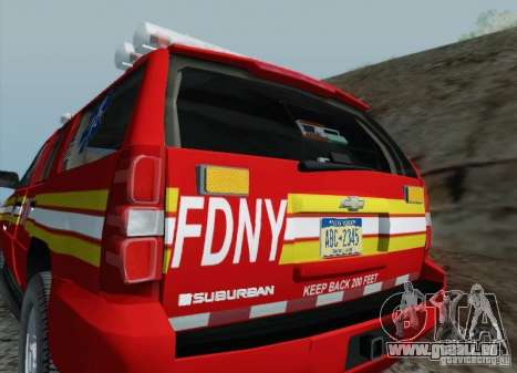 Chevrolet Suburban EMS Supervisor 862 pour GTA San Andreas vue de dessus