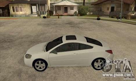 Pontiac G6 Stock Version pour GTA San Andreas laissé vue