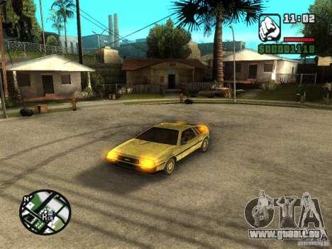 Golden DeLorean DMC-12 pour GTA San Andreas laissé vue