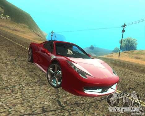 Ferrari 458 Italia Convertible pour GTA San Andreas vue de dessus