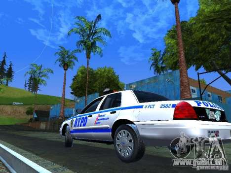 Ford Crown Victoria 2009 New York Police pour GTA San Andreas vue arrière