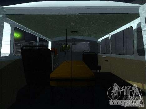 UAZ 3962 ambulance pour GTA San Andreas vue intérieure