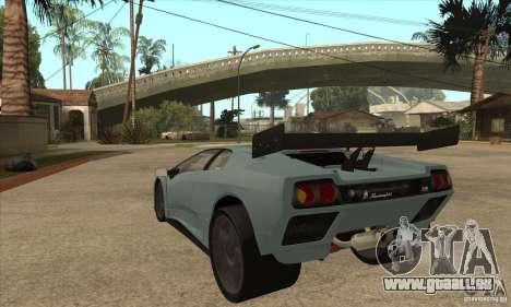 Lamborghini Diablo GT-R pour GTA San Andreas sur la vue arrière gauche