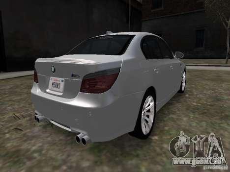 BMW M5 pour GTA 4 Vue arrière de la gauche