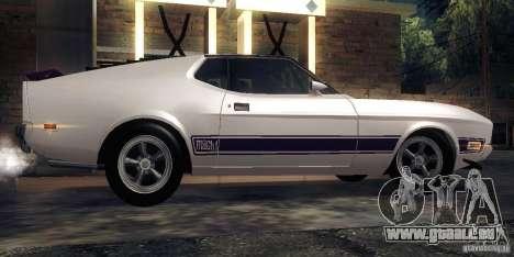 Ford Mustang Mach1 1973 pour GTA San Andreas sur la vue arrière gauche