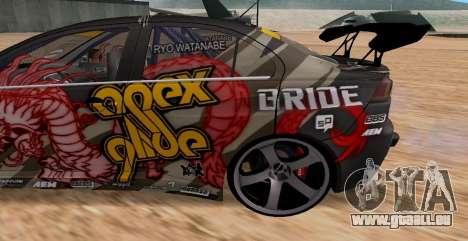 Mitsubishi Lancer Evolution RYO Vatanabe pour GTA San Andreas vue arrière
