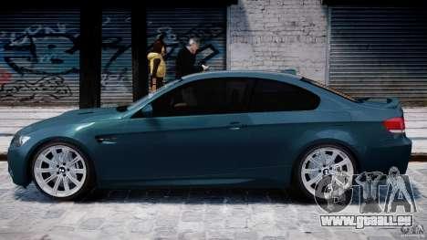 BMW M3 E92 stock pour GTA 4 Vue arrière de la gauche