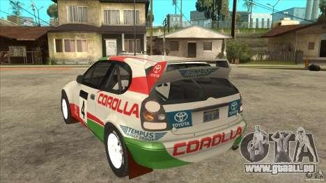 Toyota Corolla 1999 Rally Champion für GTA San Andreas Rückansicht