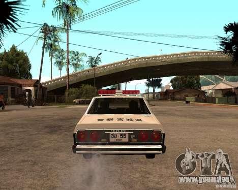 Nissan Skyline 2000 GT Police pour GTA San Andreas sur la vue arrière gauche