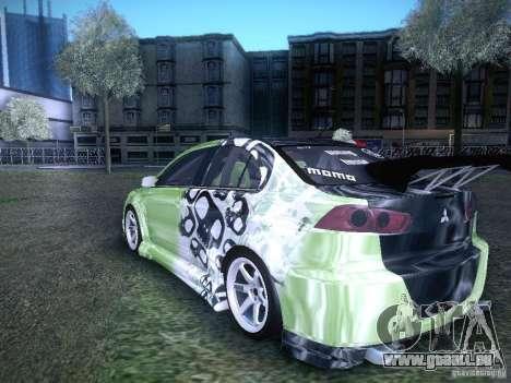 Mitsubishi Lancer Evolution X - Tuning pour GTA San Andreas laissé vue
