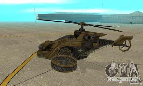 Un hélicoptère de la jeu Brown de TimeShift pour GTA San Andreas sur la vue arrière gauche