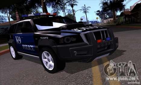 NFS Undercover Police SUV pour GTA San Andreas vue de droite