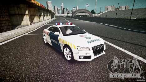 Audi S5 Hungarian Police Car white body pour GTA 4 Vue arrière