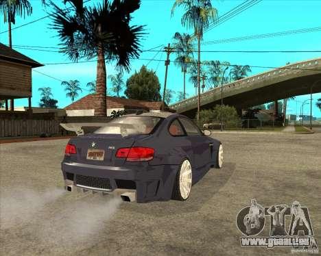 BMW M3 E92 TUNED pour GTA San Andreas sur la vue arrière gauche