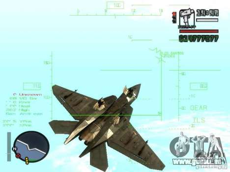 Xa-20 razorback pour GTA San Andreas vue intérieure