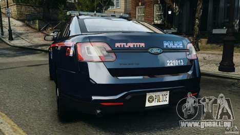 Ford Taurus 2010 Atlanta Police [ELS] pour GTA 4 Vue arrière de la gauche