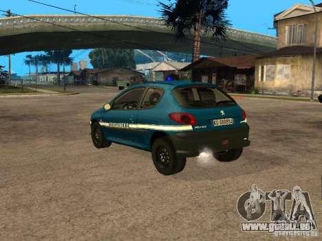 Peugeot 206 Police pour GTA San Andreas laissé vue