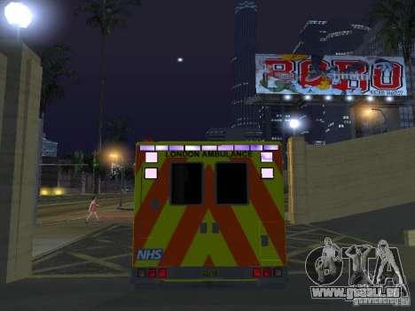 London Ambulance pour GTA San Andreas vue intérieure