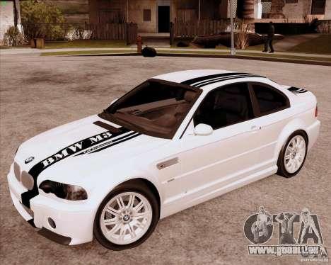 BMW M3 E46 stock pour GTA San Andreas laissé vue