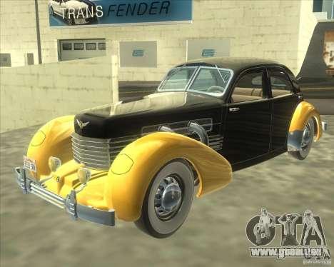 1937 Cord 812 Charged Beverly Sedan für GTA San Andreas zurück linke Ansicht