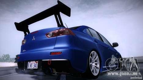 Mitsubishi Lancer Evolution X Tunable pour GTA San Andreas laissé vue