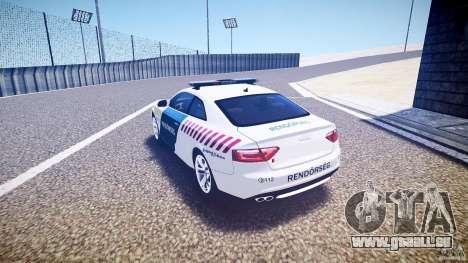 Audi S5 Hungarian Police Car white body pour GTA 4 Vue arrière de la gauche